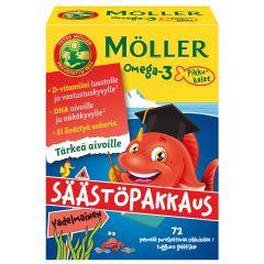 Möller Omega-3 Pikkukalat vadelmainen säästöpakkaus 72 kpl